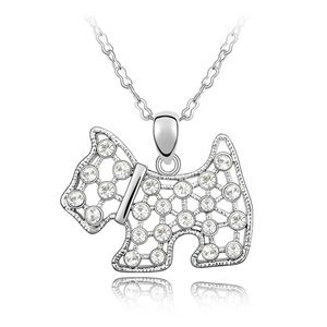 Austrian imitated crystal necklace - Lingling dog ( White ) 4619