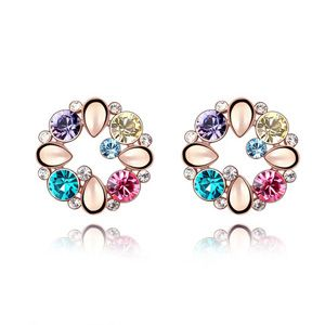 Austrian imitated crystal earrings - Yingli ( Rose Alloy + Color ) 4435