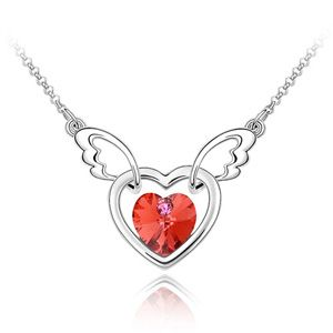 Austrian imitated crystal necklace - Angel Mind ( Red water lilies ) 4415