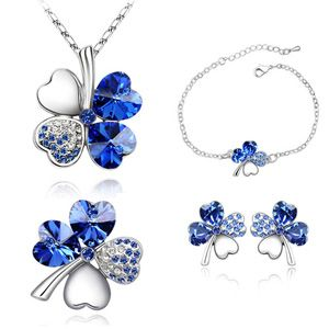 Austrian Imitated crystal Set  Sweet Four Leaf  Blue  4302