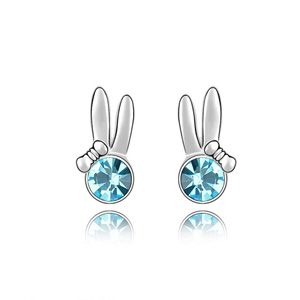 Austrian imitated crystal earrings  Amy rabbit  Navy blue  4188