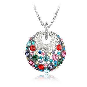 Austrian imitated crystal sweater chain - Happiness round treasure ( Color ) 3972