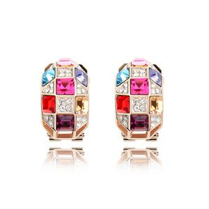 Austrian imitated crystal earrings  Queen  Purple + Rose Alloy  3967