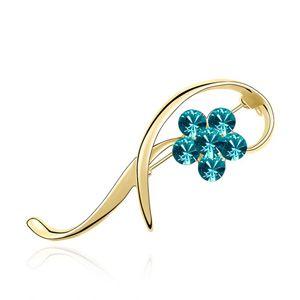 Austrian imitated crystal brooch - Thriving ( 18K + Blue Zircon ) 3866