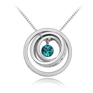 Austrian imitated crystal necklace - Lucky Circle ( Blue Zircon ) 3847