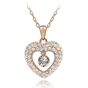 Austrian imitated crystal necklace - Western Princess ( Rose Alloy + White ) 3028