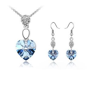 Austrian Imitated crystal Set - Heartbeat ( Light Blue ) 2694