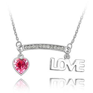 Austrian imitated crystal necklace  Deep love  Rose  1555