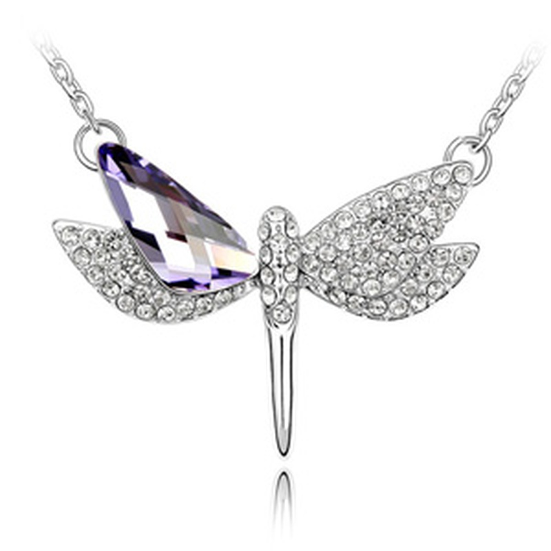 Austrian imitated crystal necklace - Flying Dragonfly ( Tanzanite ) 1511