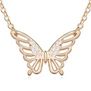 Austrian imitated crystal necklace  Butterfly Yin  Tanzanite + Champagne Alloy  11191
