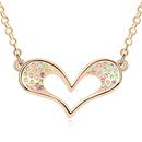 Austrian imitated crystal necklace  Rainbow mood  Color + Champagne Alloy  10215