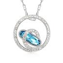 Austrian imitated crystal necklace  Shijizhiyue  Navy blue  9582