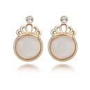 Alloy  Crown opal earrings temperament semicircle  White  7149