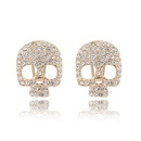Alloy imitated crystal earrings imported  Skull  Color White  7027