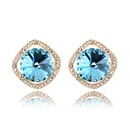 Austrian imitated crystal earrings  Stone  White + Rose Alloy  6610