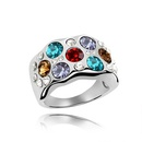 Austrian Imitated crystal Ring  Morning dew  Rose Alloy + Pale yellow smoke  4651