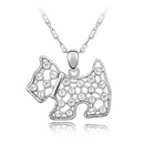 Austrian imitated crystal necklace  Lingling dog  White  4619