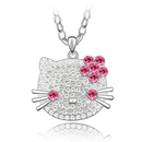 Imported imitated crystal sweater chain  Cute KT cat  Rose  3284