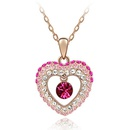 Austrian imitated crystal necklace  Western Princess  Rose Alloy + White  3028
