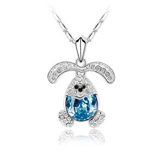 Austrian imitated crystal necklace  Happy Rabbit  Navy blue  1813