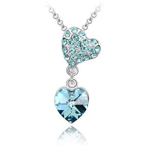 Austrian imitated crystal necklace - Dripping ( Navy blue ) 1046