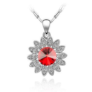 Austrian imitated crystal necklace - Sunflower ( Light red ) 1004