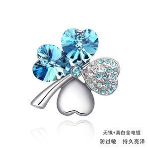 Austrian imitated crystal brooch - Sweet Four Leaf ( Navy blue ) 891