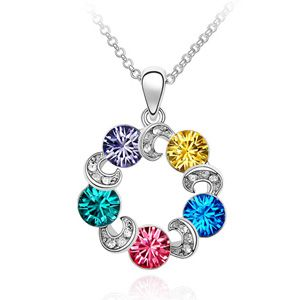 Austrian imitated crystal necklace - Clouds ( Tanzanite + Alloy + Navy + Rose + Blue Zircon ) 715