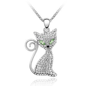 Austrian imitated crystal necklace - Electric eye cat ( Olives ) 701