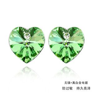 Austrian imitated crystal earrings - Heart ( Olives ) 458