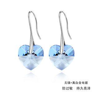 Austrian imitated crystal earrings  Heart Star  Light Blue  257