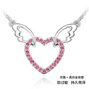 Imitated crystal Necklace - Angel Heart ( Rose ) 125