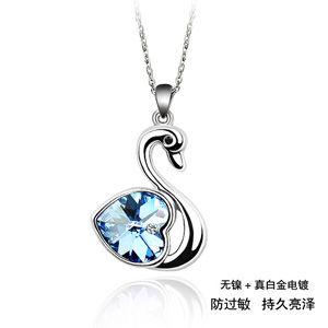 Austrian imitated crystal necklace  Swan  Light Blue  30