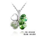 Austrian imitated crystal necklace  Sweet Four Leaf  Purple  7