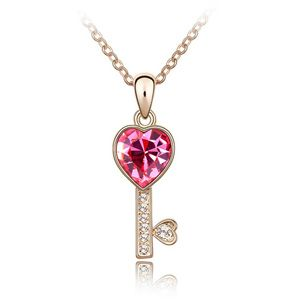 Austrian imitated crystal necklace  Love Key  Rose Alloy + Rose  2593