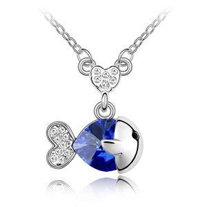 Austrian imitated crystal necklace  Dudu fish  Blue  2576