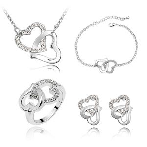 Imitated crystal Set - Heart to Heart ( White ) 2411