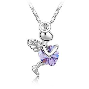 Austrian imitated crystal necklace - Eros cupid ( Violet ) 2211