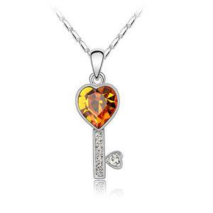 Austrian imitated crystal necklace - Love Key ( Citrine ) 2197