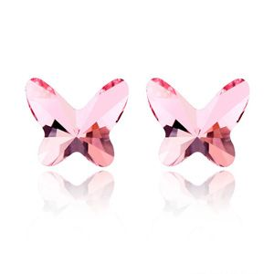 Austrian imitated crystal earrings - Butterfly Kiss ( Light Rose ) 2059