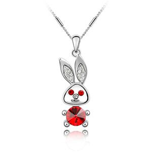 Austrian imitated crystal necklace - Big ears rabbit ( Light red ) 1974