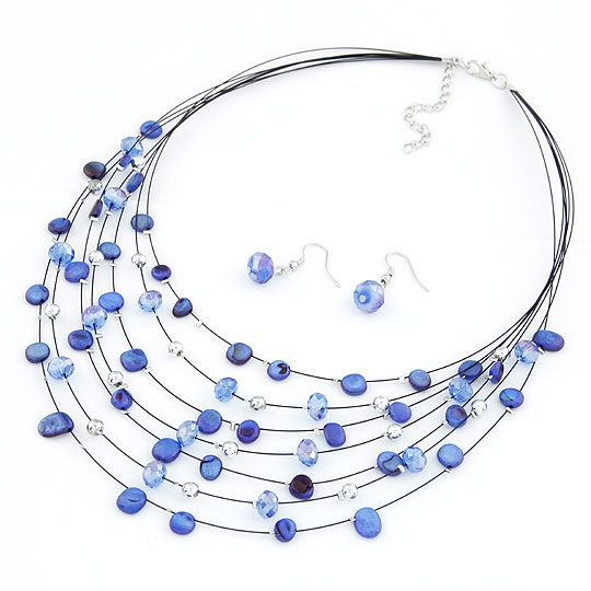 Elegant easy match shell imitated crystal multi-layer necklace  earrings ( set ) 210707