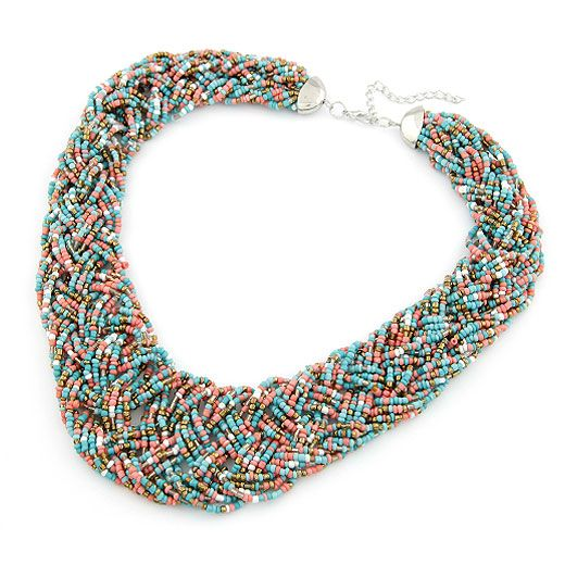 Handmade  Bohemian style  easy match rice beads weave necklace ( mix color ) 210491