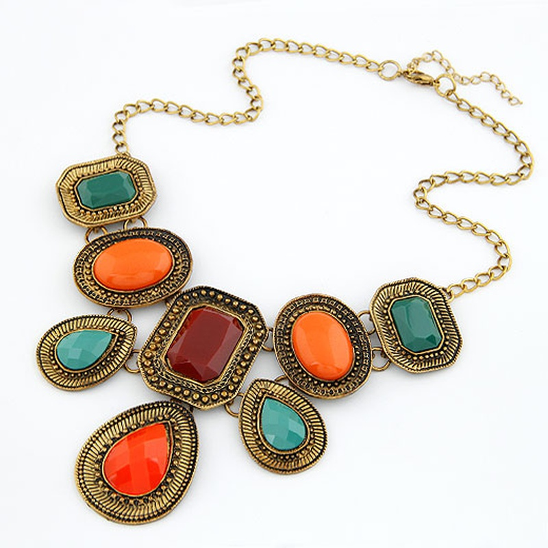 Occident fashion boast concise graceful geometry square short necklace 210676