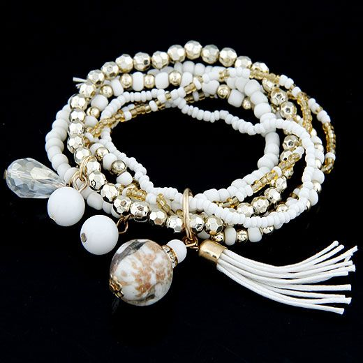 ( white )  lady wear  easy match mix Bohemian style rice beads tassel multi-layer bracelet 210655