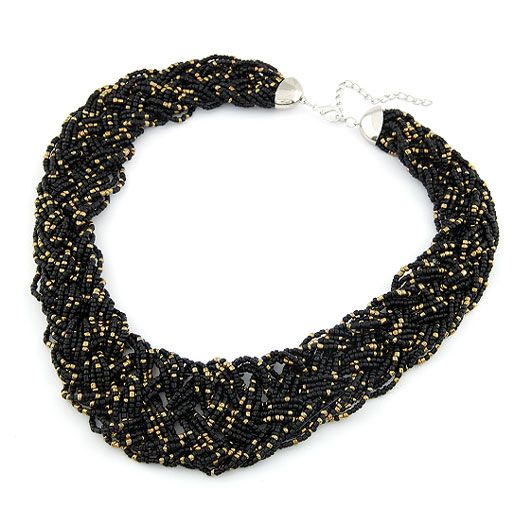 Handmade  Bohemian style  easy match rice beads weave necklace ( black ) 210490