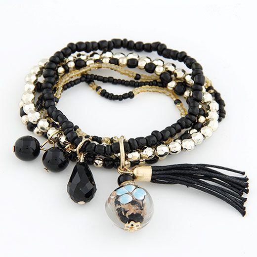 ( black )  lady wear  easy match mix Bohemian style rice beads tassel multi-layer bracelet 210656