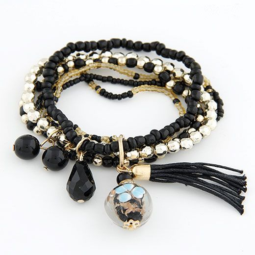 ( black )  lady wear  easy match mix Bohemian style rice beads tassel multi-layer bracelet 210656