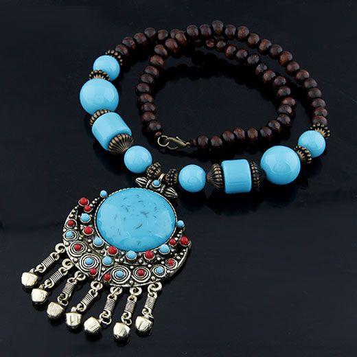 Occident fashion  Bohemian style big blue gem  long necklace (blue ) 210705