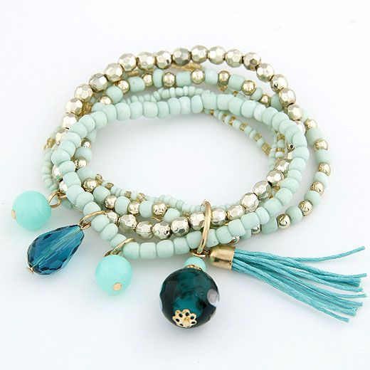 ( green )  lady wear  easy match mix Bohemian style rice beads tassel multi-layer bracelet 210658
